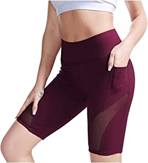 FANSHONN Women's High Waist Mesh Splice Yoga Shorts Tummy Control Workout Running Shorts with Side Pockets