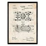 Nacnic Brevetto Poster Locomotiva 3. Foil con Il Vecchio Brevetto di Disegno in Formato A3 e Vintage Sfondo