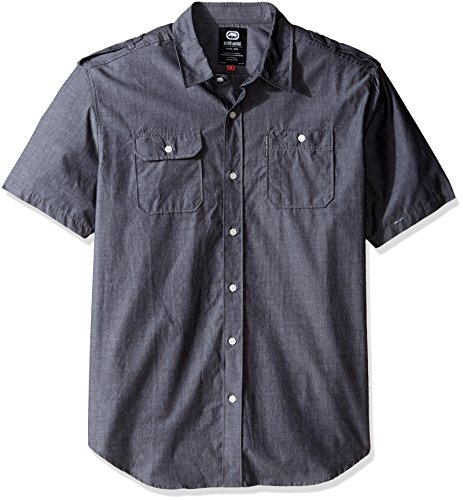 Ecko Unltd. Men's Solid City Short Sleeve Woven, Black Chambray, Large