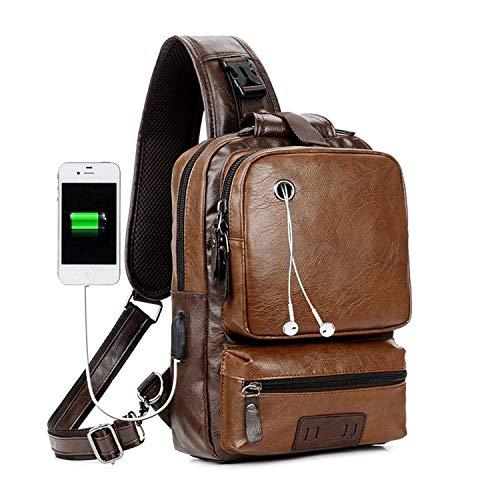 Men's Sling Bag, Crossbody PU Leather Shoulder Backpack with USB Charging Port, Vintage Chest Bag for Men (Brown)