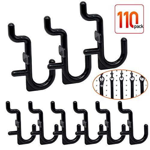 Pegboard Hooks - 110 pk J Style for Peg Board Assortment Peg Organizer Black Peg Hook Accessories