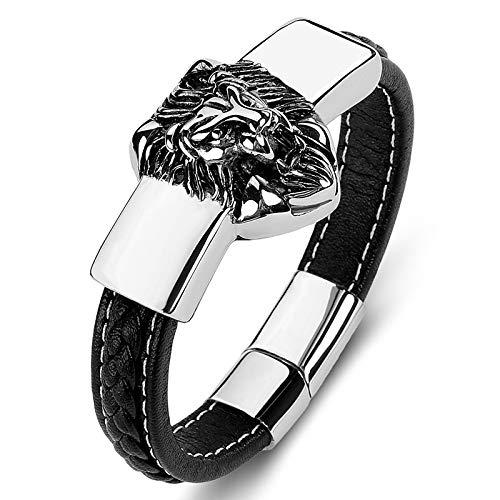 Yarmy Lion Bracelet Men,Brazalete de Cuero Trenzado,Brazalete con Hebilla Magnética de Acero Inoxidable,Brazalete con Personalidad de Moda Heavy Metal Punk con Caja de Regalo Negro 18cm/20cm