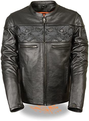 Mens Leather Reflective Skull Crossover Scooter Jacket Black Size 2XL product image
