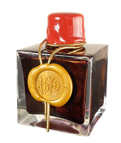 J. Herbin 1670 Anniversary Inks - Gold Sheen 50 ml Bottled - Rouge Hematite (Dark Red Ink)