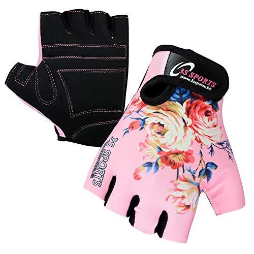 3S Sports Gepolsterte Fahrradhandschuhe für Kinder, Jungen, Mädchen, BMX, Pink (XXXS)