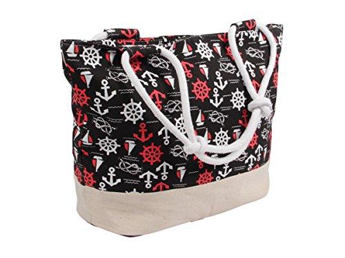 Handtasche Strandtasche Shopper Damentasche 35 x 50 cm schwarz beige Maritim-Look Anker mit Reißverschluss von Alsino