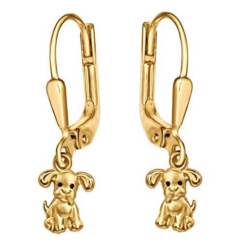 CLEVER SCHMUCK Clever - Pendientes de oro, diseño de perro con ojos negros mate y oro brillante de...