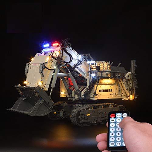 LODIY Jeu De Lumiere LED Kit de Éclairage avec Télécommande pour Lego 42100 Technic Liebherr R 9800 Excavator (Lego Modèle Non Incluse)