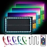 USB LED Light Strip,SOLMORE RGB LED Strip Lights TV Backlight Strip 2m/6.6ft 5050 Flexible LED Strip with IR Remote,Waterproof LED Light Strip for TV LCD,Desktop PC/Laptop Background Lighting Decor