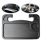 Geeweco Car Steering Wheel Desk, Multifunction Portable Auto Steering Wheel Tray for Computer, Food, Snack, Lunch, Drinking, 2 in 1 Black Car Eating Table