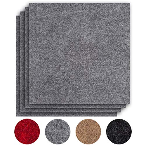 andiamo Teppichfliesen selbstklebend Teppichboden Bodenbelag Nadelfilz Fliese 40 x 40 cm - Set, Farbe:Grau, Größe:8 m²