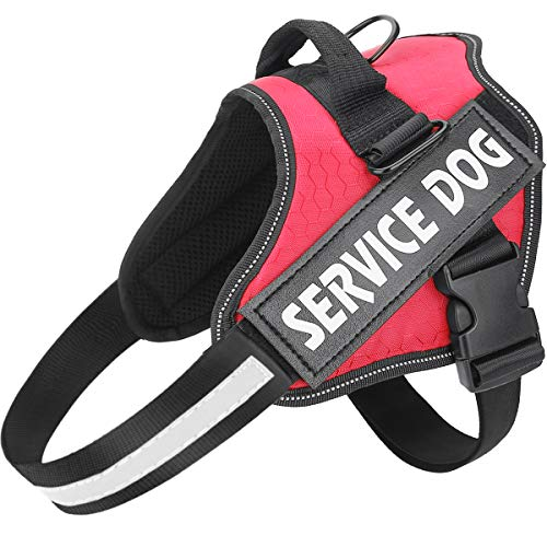 MUMUPET Service Dog Harness, No Pull Easy On and Off Pet Vest Harness, 3M Reflective Breathable & Easy Adjust Pet Halters with Nylon Handle - No More Tugging or Choking for Small Medium Large Dogs