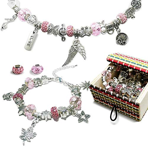AideMeng Charm Armband Kit DIY - Geschenke für Mädchen Teens, adventskalender mädchen 2020 adventskalender zum befüllen, Schmuck Bastelset Mädchen, Teenager Mädchen Geschenke 8-12 Jahre