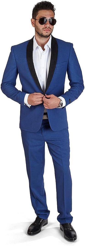 AZAR MAN Slim Fit 1 Button Shawl Collar Suede Lapel Suit