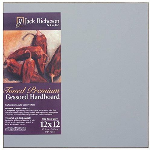 "Jack Richeson Richeson Mid Grey Toned Gessoed 1/8"" Hardboard 12""x12"""