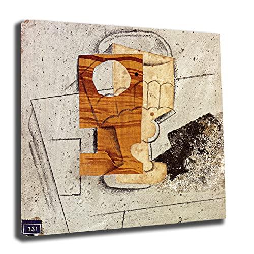 Pablo Picasso glas op een tafel canvas foto muurschildering moderne fotos woonkamer muurschilderingen kunstdruk fotos slaapkamer canvas kunst prints (60 x 60 cm (24 x 24 inch), ingelijst)