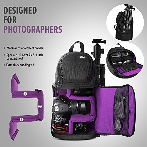 Qipi Camera Bag - Sling Bag Style Camera Case Backpack with Modular Inserts & Waterproof Rain Cover - for DSLR & Mirrorless Cameras (Nikon, Canon, Sony) - Black