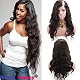 Rossy&Nancy 10A U Part Wig 100% Brazilian Remy Human Hair Body Wavy Free Part Natural Black Color 130% Density 14inch