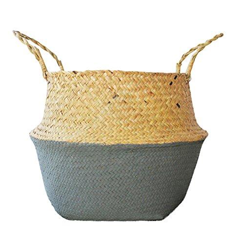Bulary Cestino a secchiello in erba marina naturale intrecciata, ideale come portaoggetti, portabiancheria, per picnic, portavaso per piante e borsa da spiaggia, large