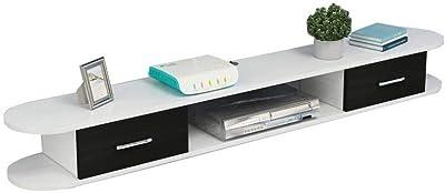 Floating Shelf Wall-Mounted Tv Cabinet Wall Shelf with Drawers Bedroom Living Room Floating Shelf Multimedia Storage Shelf Tv Stand White (Size : Black 120Cm)