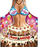 ITATI Grembiule sexy griglia barbecue grembiule da cucina antimacchia donna modello Buon Compleanno, dimensioni 75 x 58 cm