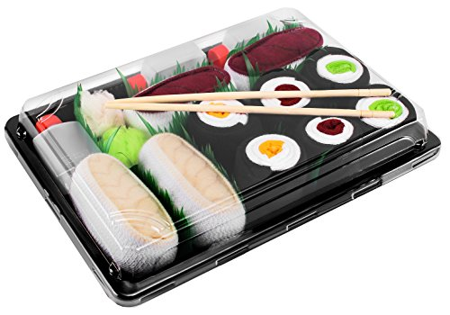 Rainbow Socks - Damen Herren - Sushi Socken Lachs Thunfisch 3x Maki - Lustige Geschenk - 5 Paar - Größen 36-40