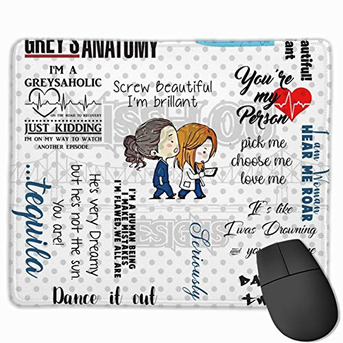 Grey's Anatomy Rectangle Mouse Pad Mouse Pad Anti Slip Gaming Mouse Classical Office Mouse Pad for Desktops,Computer,PC and Laptops