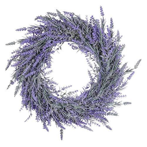 Suading Corona de lavanda para puerta delantera artificial para todas las estaciones, para interiores y exteriores, corona floral para decoración de la pared del hogar