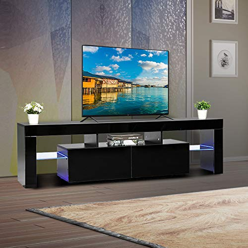 Bonnlo Modern TV Stand with LED Light 63 Inch TV Stand TV Cabinet Media Storage Console Table with Drawer and Shelves for Living Room Bedroom...