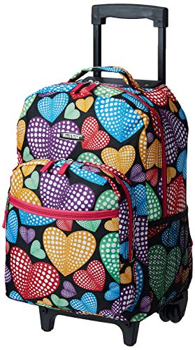Rockland Double Handle Rolling Backpack, New Heart, 17-Inch