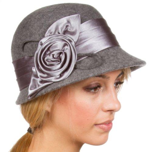 Sakkas CL1489 Vintage Style 100% Wool Cloche Bucket Winter Hat - Heather Grey/One Size