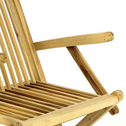 Divero Gartenmöbel-Set Terrassenmöbel-Garnitur Sitzgruppe – Esstisch 120/170 cm ausziehbar & 4 x Klappstuhl mit Armlehne – Teakholz massiv Natur Bild 5*