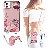 Crosspace Compatible with iPhone 12/12 Pro [6.1inch,2020 Release] Crossbody Case Wallet for Women and Girls with Card Holder&Special Fashion Design&Adjustable Shoulder Strap&PU Leather Flip Cases-Pink
