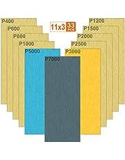 Akuoly Vått och torrt sandpapper 33 st ark för slipspapper 7000 5000 3000 2500 2000 1500 1200 1000 800 600 400 sandpapper för fordonsslipning och vridning av trä, 9 x 9 cm