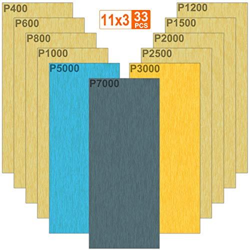 33pcs Nassschleifpapier Körnung 7000 5000 3000 2500 2000 1500 1200 1000 800 600 400 Nass und Trocken Sandpapier für Auto Holzmöbel Stein Lack Metall Glas, 9,3x23cm pro Blatt