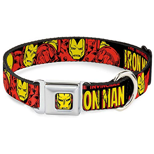 Buckle-Down Seatbelt Buckle Dog Collar - THE INVINCIBLE IRON MAN Action Poses Black/Red/Yellow - 1' Wide - Fits 9-15' Neck - Small