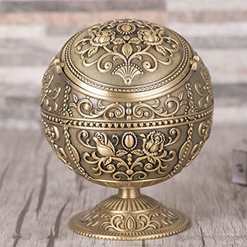 Papelera de metal con tapa basculante, cenicero fresco con forma redonda, decoración de mesa dorada con aleación de zinc, color rosa