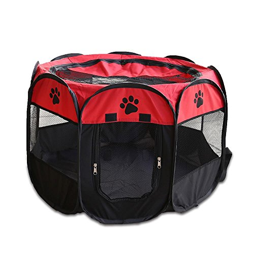 Pet Playpen Foldable Portable Dog/Cat/Puppy Exercise Kennel Playpen For Small Large. The Best Indoor And Outdoor Pen. With Cary Bag. Easily Sets Up & Folds Down & Space Free (L, Red)