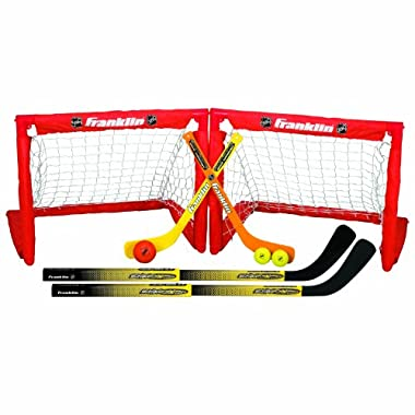 Franklin Sports Mini Hockey 2-In-1 Set - NHL Approved - Includes Two Hockey Goals, Hockey Sticks, and Mini Hockey Sticks