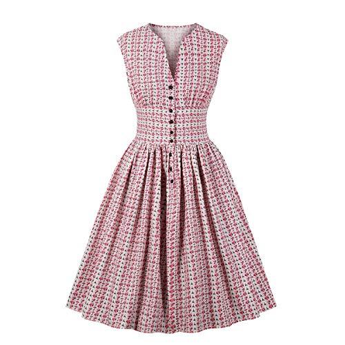 Wellwits Women's Split Neck Floral Button 1940s Day Vintage Tea Dress Pink 2XL