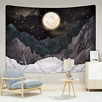 Mountain Tapestry Moon Stars Tapestries Night Starry Sky Tapestry Nature Landscape Mountain Tapestry Wall Hanging for Room (59.1 x 59.1 inches)