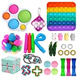 Sensory Fidget Toy Set, Fidget Pack Sensory Relieves Stress Anxiety for Kids Adults, Fidget Block with Simple Dimple in It, Tie Dye Push Pop Bubble Toy (30PCS C)