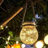 Osaloe Lámpara Solar Exterior, Luz de Jardín de impermeable IP65, Patrón de Vidrio Agrietado y Cadena de Alambre de Cobre de 30 LEDs, Luces Solares Decorativa para Fiesta, Parque, Boda, Escaleras