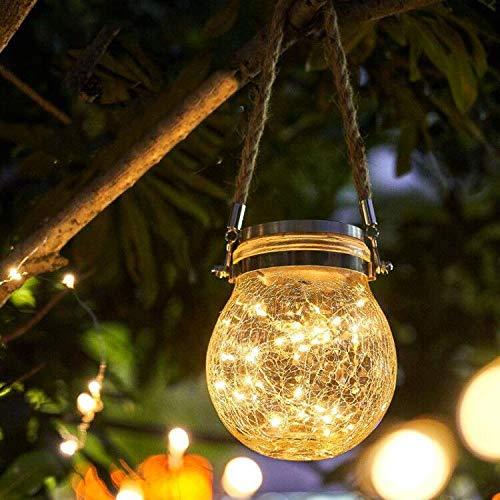 Osaloe Lanterna Solare, Lampade Solari in Vetro Lampada da Giardino Solare Impermeabile IP65 a Sospensione a Luce Solare per Esterni, Camera da Letto, Festa, Matrimonio (Bianco Caldo)