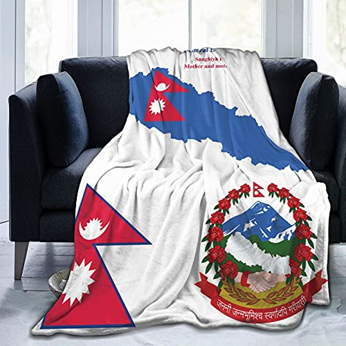 Flanelldecke mit Nepal-Flagge, flauschig, bequem, warm, leicht, weich, Überwurf für Sofa, Couch, Schlafzimmer