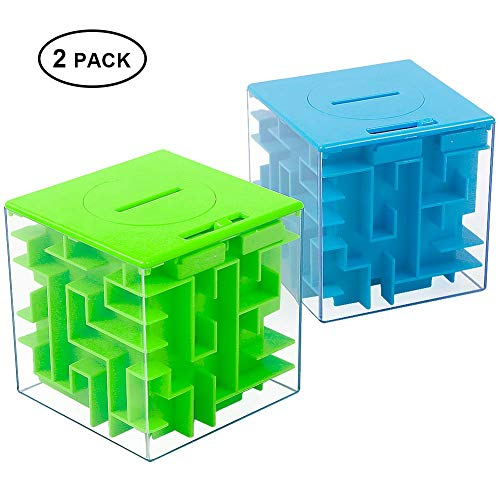 Money Maze Puzzle Box, Twister.CK Unique Money Gift Holder Box, Fun Maze Puzzle Games for Kids and Adult Birthday (2PACK)