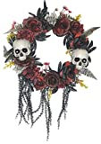 Halloween Skull Wreath for Front Door with Red and Black Artificial Roses and Plants, Gothic Garland Creepy Decor for Home, 15 Inch