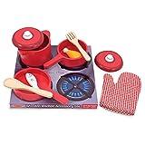Melissa & Doug Deluxe Wooden Kitchen Accessory Set Red - Pots & Pans (8 pcs)