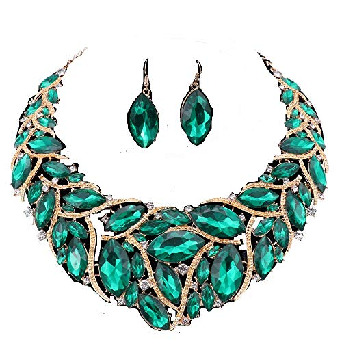 African Beads Jewelry Sets Women Bridal Crystal Statement Necklace Earring Jewelry Sets (Green)