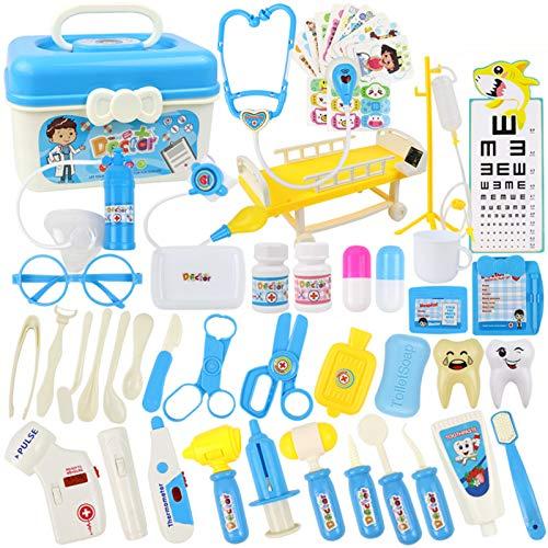 wangxike Maletín de médico para niños, maletín de doctor, con accesorios médicos, 51 piezas, juego de dentistas, juego de rol, juguete educativo, regalo para niños y niñas